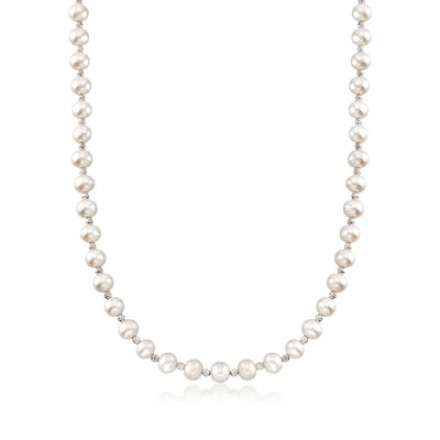 7.5-8mm Cultured Pearl and Sterling Silver Bead Necklace, , default