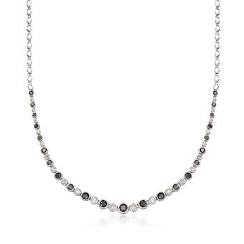 2.00 ct. t.w. Bezel-Set Black and White Diamond Graduated Necklace in Sterling Silver, , default