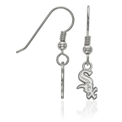 Sterling Silver MLB Chicago White Sox Extra Small Dangle Earrings, , default