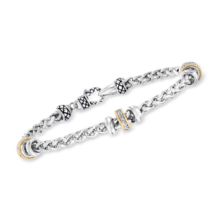 """Andrea Candela """"Espiga"""" .12 ct. t.w. Diamond Station Bracelet in Sterling Silver and 18kt Yellow Gold. 7.25"""""""