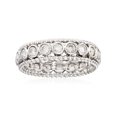 1.00 ct. t.w. Bezel-Set Diamond Eternity Ring in 14kt White Gold