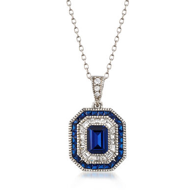 Simulated Sapphire and .52 ct. t.w. CZ Pendant Necklace in Sterling Silver, , default