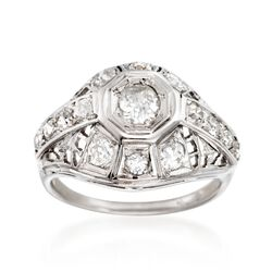 C. 1950 Vintage 1.00 ct. t.w. Diamond Openwork Dome Ring in 14kt White Gold. Size 5.75, , default