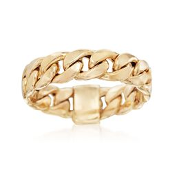 14kt Yellow Gold Curb-Link Ring. Size 5, , default