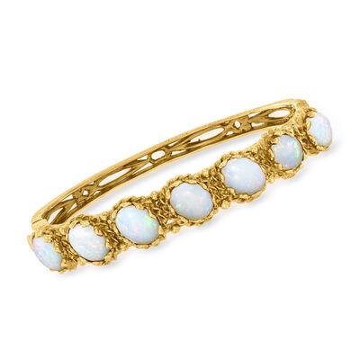 C. 1970 Vintage Opal Bangle Bracelet in 14kt Yellow Gold