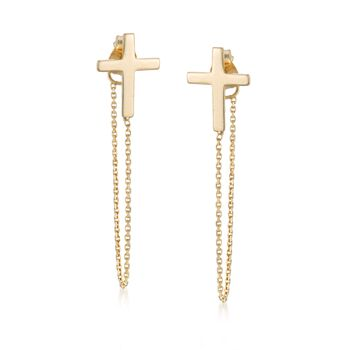 14kt Yellow Gold Cross and Chain Front-Back Drop Earrings, , default