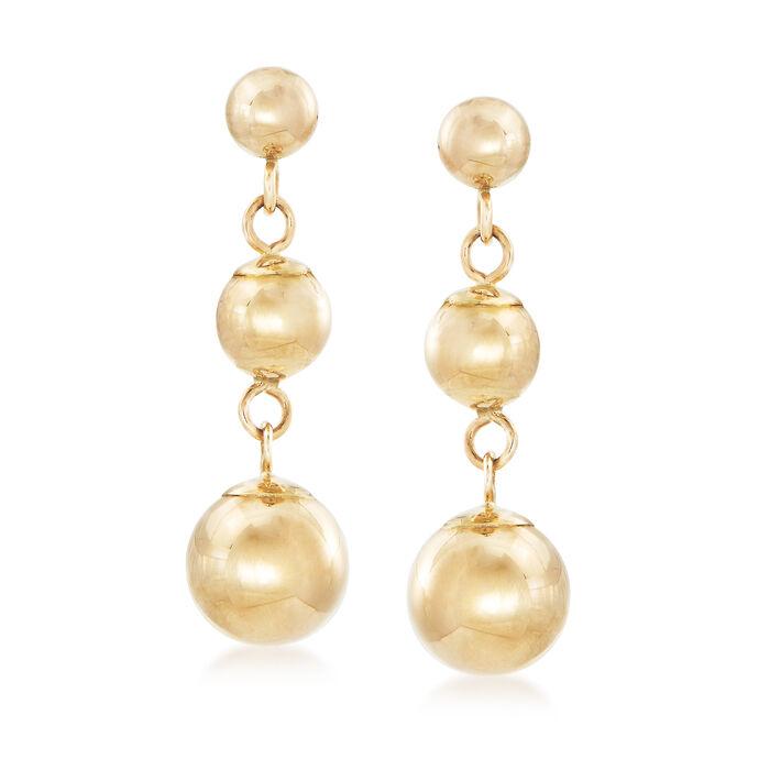 14kt Yellow Gold Graduated Bead Drop Earrings, , default