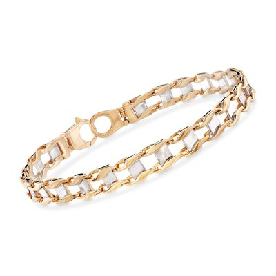 Men's 14kt Two-Tone Gold 7mm Railroad Chain Link Bracelet, , default