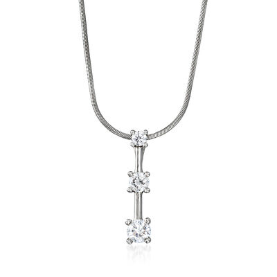 C. 1990 Vintage 1.00 ct. t.w. Diamond Past/Present/Future Pendant Necklace in 14kt White Gold, , default