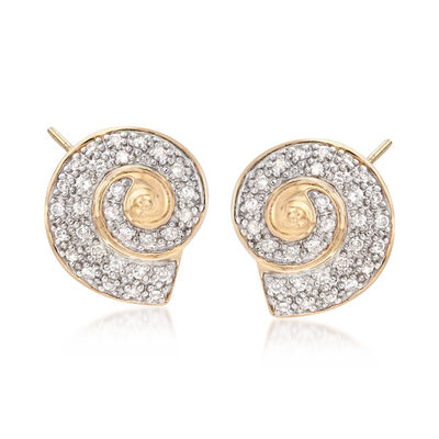 .20 ct. t.w. Diamond Swirl Earrings in 18kt Yellow Gold , , default