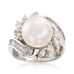 C. 1990 Vintage 11.3mm Cultured South Sea Pearl and 1.80 ct. t.w. Diamond Ring in 18kt White Gold. Size 6, , default