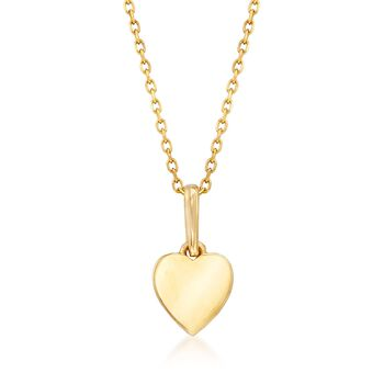 "18kt Yellow Gold Small Heart Pendant Necklace. 18"", , default"