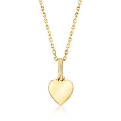 18kt Yellow Gold Small Heart Pendant Necklace, , default