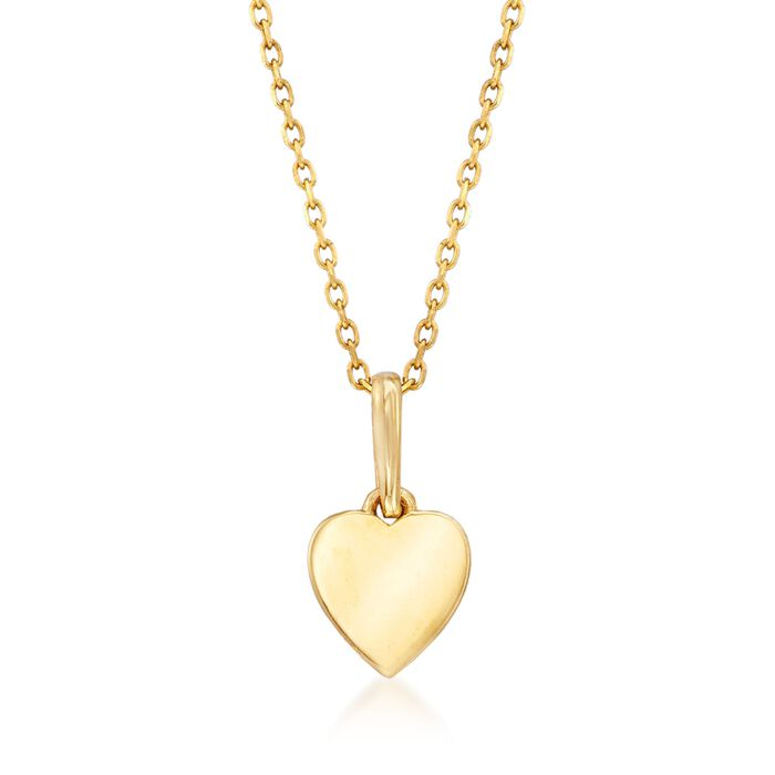 """18kt Yellow Gold Small Heart Pendant Necklace. 18"""", , default"""