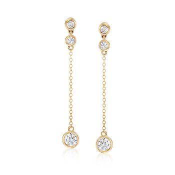 .70 ct. t.w. CZ Drop Earrings in 14kt Yellow Gold, , default