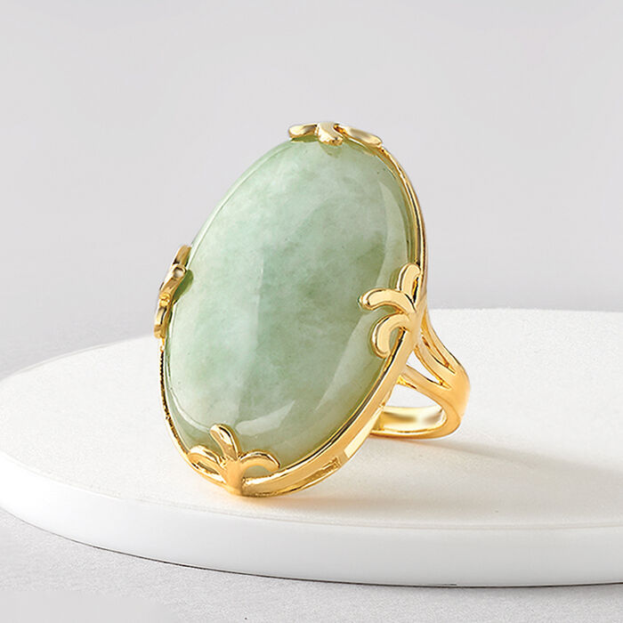 30x20mm Jade Ring in 18kt Gold Over Sterling