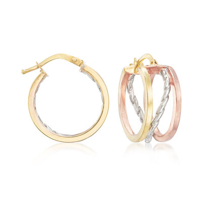 Italian 14kt Tri-Colored Gold Polished and Roped Hoop Earrings, , default