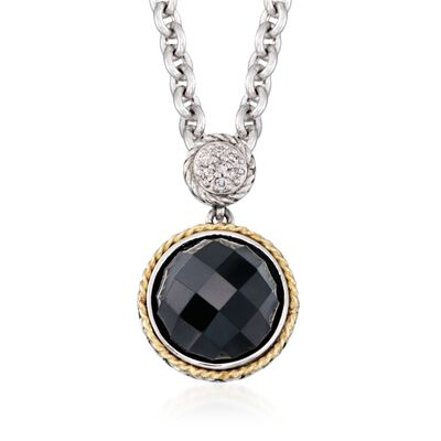 Andrea Candela Black Onyx Doublet Necklace with Diamonds in Sterling Silver and 18kt Yellow Gold, , default