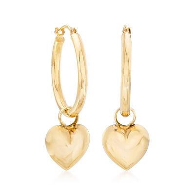 14kt Yellow Gold Heart Charm Hoop Earrings, , default