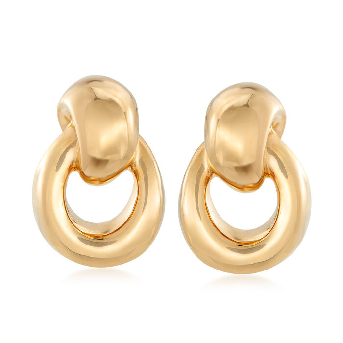 14kt Yellow Gold Doorknocker Drop Earrings, , default