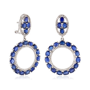 9.00 ct. t.w. Sapphire and .52 ct. t.w. Diamond Circle Drop Earrings in 14kt White Gold, , default