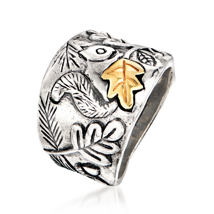 Sterling Silver Squirrel Ring with 14kt Yellow Gold
