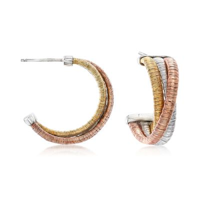 Italian Tri-Colored Sterling Silver Twisted Hoop Earrings, , default