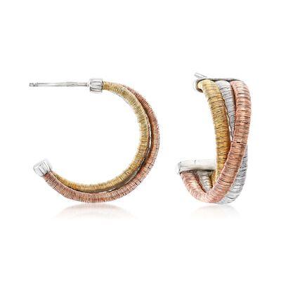 Italian Tri-Colored Sterling Silver Twisted Hoop Earrings, , default