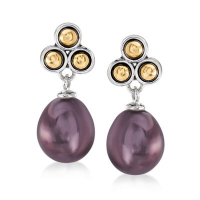 9-9.5mm Black Cultured Pearl Drop Earrings in Sterling Silver with 14kt Yellow Gold, , default