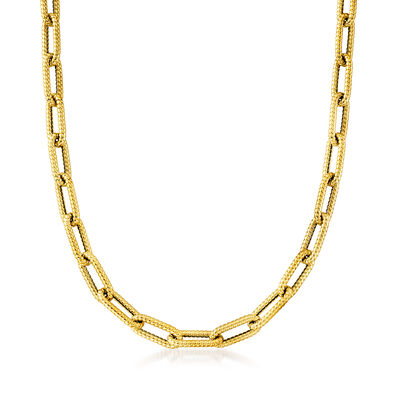 Italian 14kt Yellow Gold Textured Paper Clip Link Necklace
