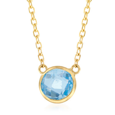 .90 Carat Blue Topaz Necklace in 14kt Yellow Gold, , default