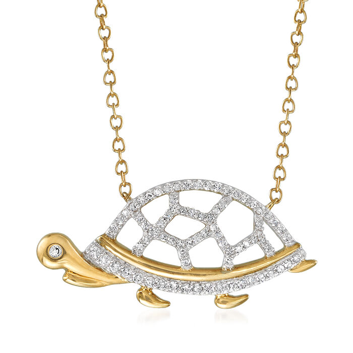 .20 ct. t.w. Diamond Turtle Pendant Necklace in 14kt Yellow Gold, , default
