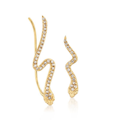 .19 ct. t.w. Diamond Mismatch Snake Ear Climbers in 18kt Yellow Gold, , default