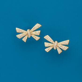 1.20 ct. t.w. Diamond Bow Earrings in 18kt Yellow Gold, , default