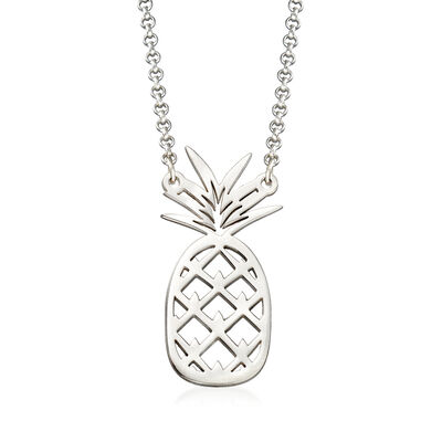 Sterling Silver Pineapple Necklace, , default