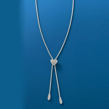 """.20 ct. t.w. Diamond Heart Bolo Necklace in Sterling Silver. 30"""", , default"""