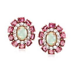 Opal and 2.50 ct. t.w. Pink Tourmaline Earrings With White Topaz in 14kt Rose Gold Over Sterling, , default