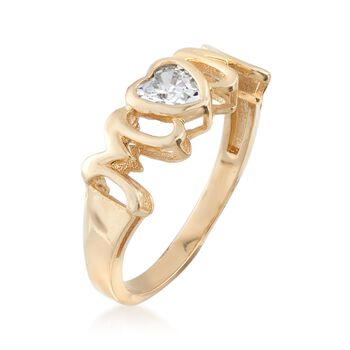 ".40 Carat Heart-Shaped CZ ""Mom"" Ring in 14kt Yellow Gold, , default"