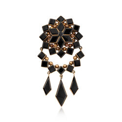 C. 1900 Vintage Black Onyx Mourning Pin in 10kt Yellow Gold, , default