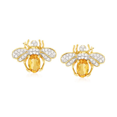 .80 ct. t.w. Citrine and .25 ct. t.w. Diamond Bee Earrings in 14kt Yellow Gold, , default