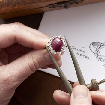 5.75 Carat Ruby and 1.20 ct. t.w. White Topaz Ring in Sterling Silver, , default