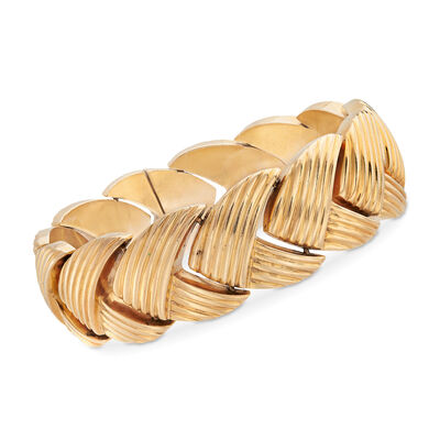 C. 1908 Vintage 14kt Yellow Gold Chevron Bracelet  , , default