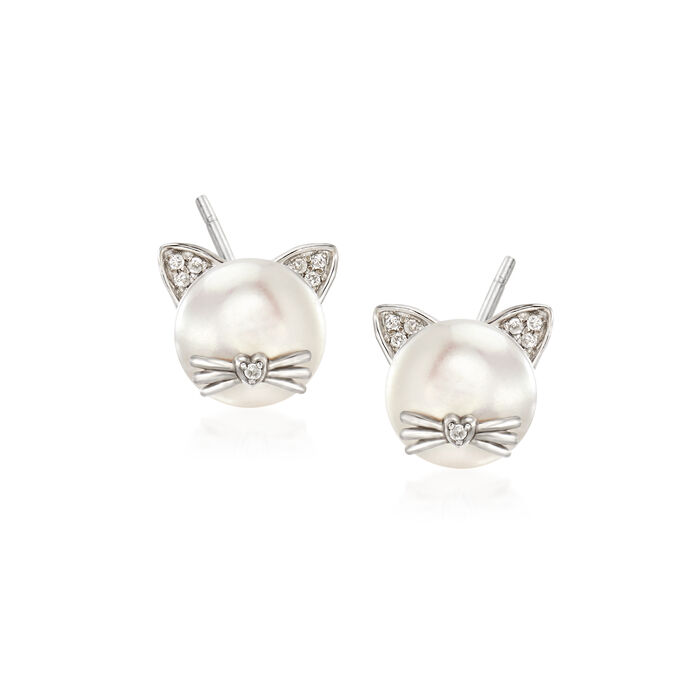 8-8.5mm Cultured Pearl Cat Earrings with Diamond Accents in Sterling Silver, , default