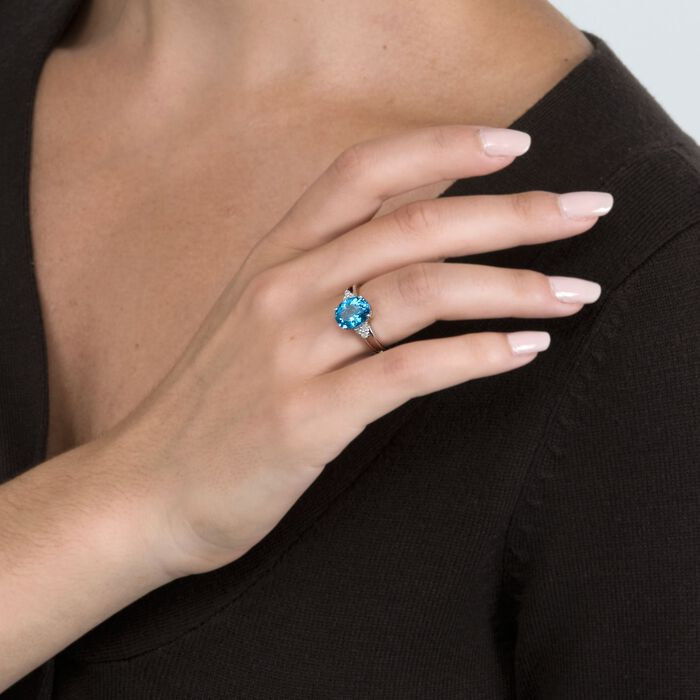 3.30 Carat Topaz and Diamond Ring in 14kt White Gold
