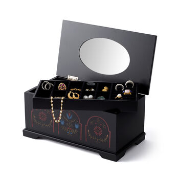 Mele Marley Black Wooden Pennsylvania Dutch Jewelry Box, , default