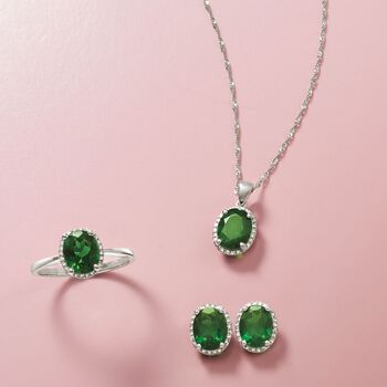 "1.80 Carat Green Chrome Diopside Pendant Necklace With Diamonds in 14kt White Gold. 18"", , default"