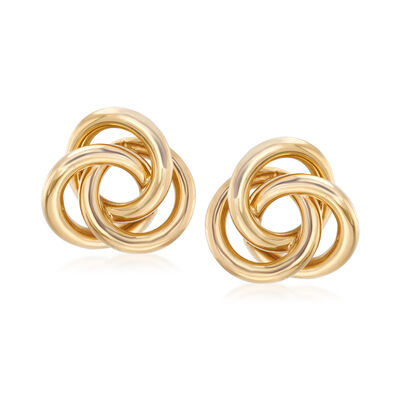 C. 1990 Vintage Tiffany Jewelry 18kt Yellow Gold Infinity Knot Earrings, , default