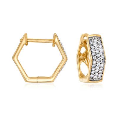 .25 ct. t.w. Diamond Geometric Hoop Earrings in 14kt Yellow Gold