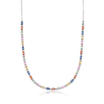 """7.60 ct. t.w. Multicolored Sapphire and .18 ct. t.w. Diamond Necklace in Sterling Silver. 18"""", , default"""
