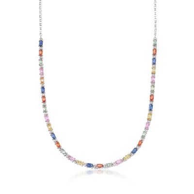 7.60 ct. t.w. Multicolored Sapphire and .18 ct. t.w. Diamond Necklace in Sterling Silver, , default
